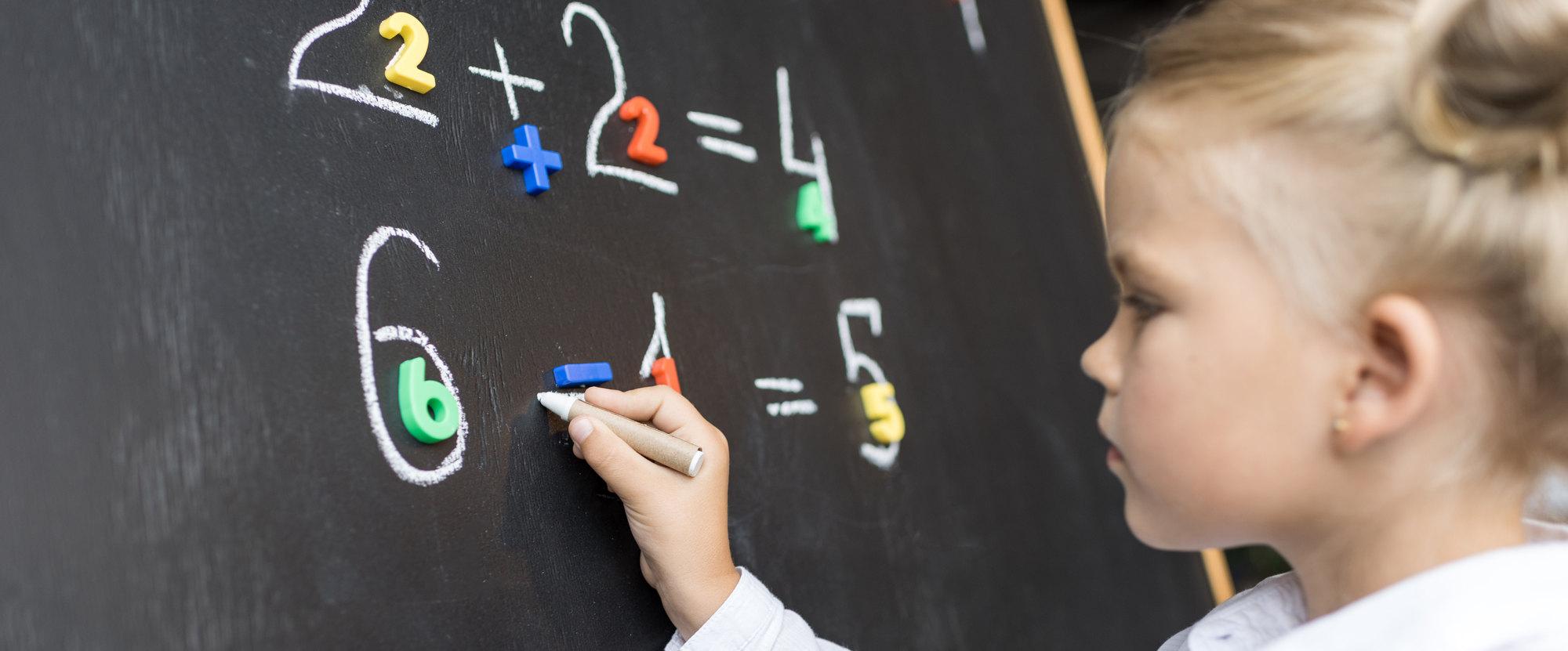 A girl doing math